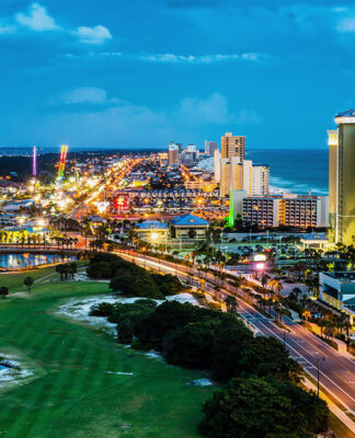 Panama City Beach, Florida, View Of Front Beach Road At Night