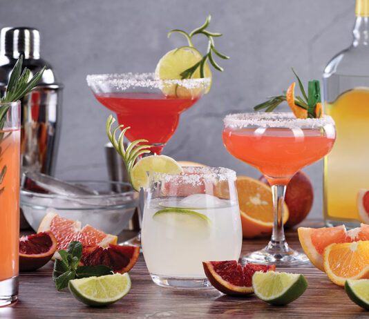 Drinks And Cocktails With Tequila Based Different Citrus Fruits